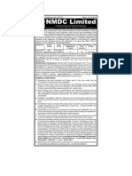 NMDC Employment Notification 10x22 With Skill Set