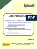 DIRECCIONES Y TELEFONOS EN MATERIA EDUCATIVA