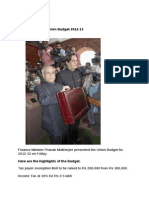 Highlights of the Union Budget 2012