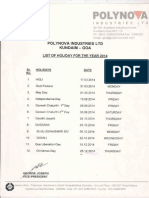 List of Holiday 2014