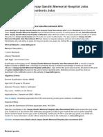 Jobsrecruitment.co.in-wwwdelhigovin Sanjay Gandhi Memorial Hospital Jobs Recruitment 2014 Residents Jobs