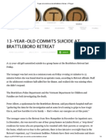 13-Year-old Commits Suicide at Brattleboro Retreat