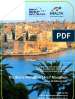 Brochure and entry form for the Family Holiday Association Malta Marathon team