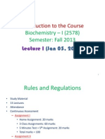 Lect 1 Introductory Lecture Biochemistry