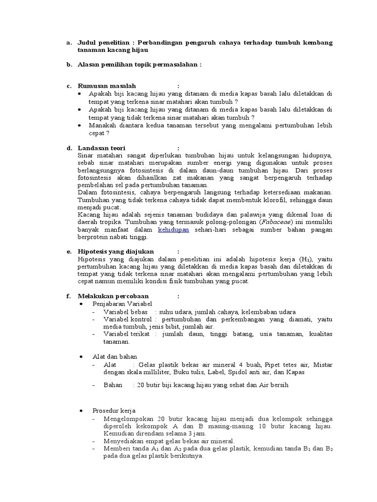Metode Ilmiah Kacang Hijau Tugas Biologi
