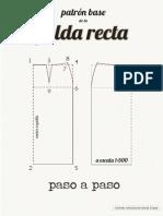Patrón base de falda recta - paso a paso