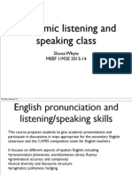 Overview of Academic Listening & Speaking class