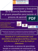 Proyecto de tutorización y evaluacion de la docencia en grupos pequeños para mejorar el proceso de aprendizaje
