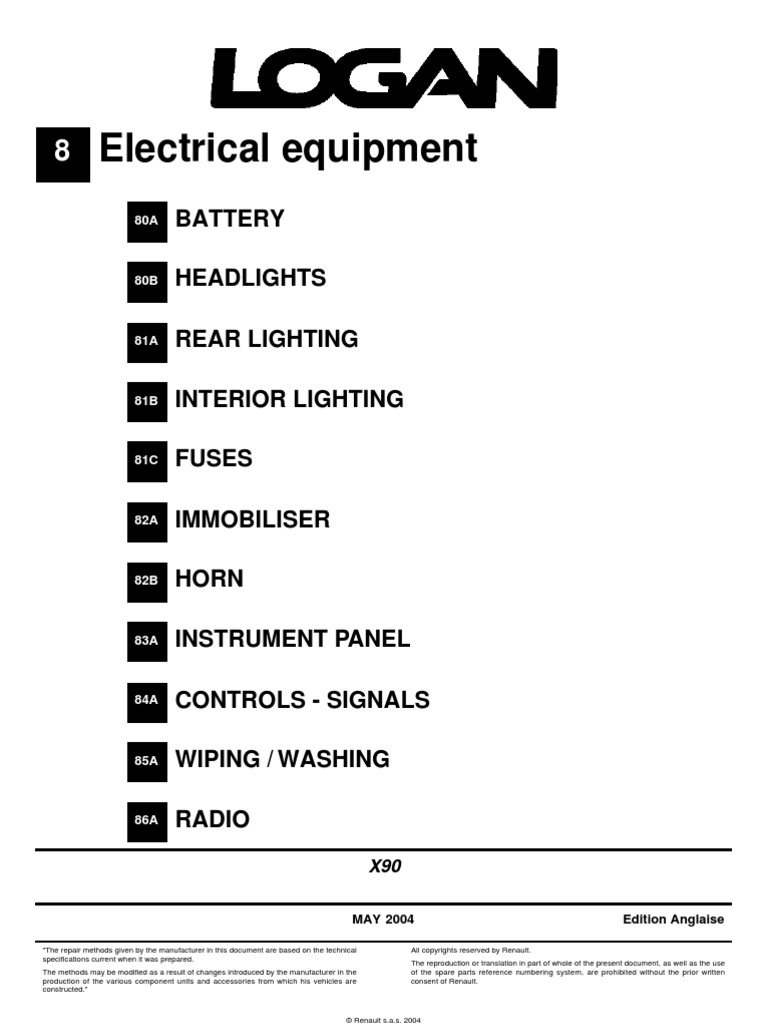 Renault Wiring Diagrams Logan L90 Diagram Colours Electrical Mr388logan8 Headlamp Trunk Car Farmtrac