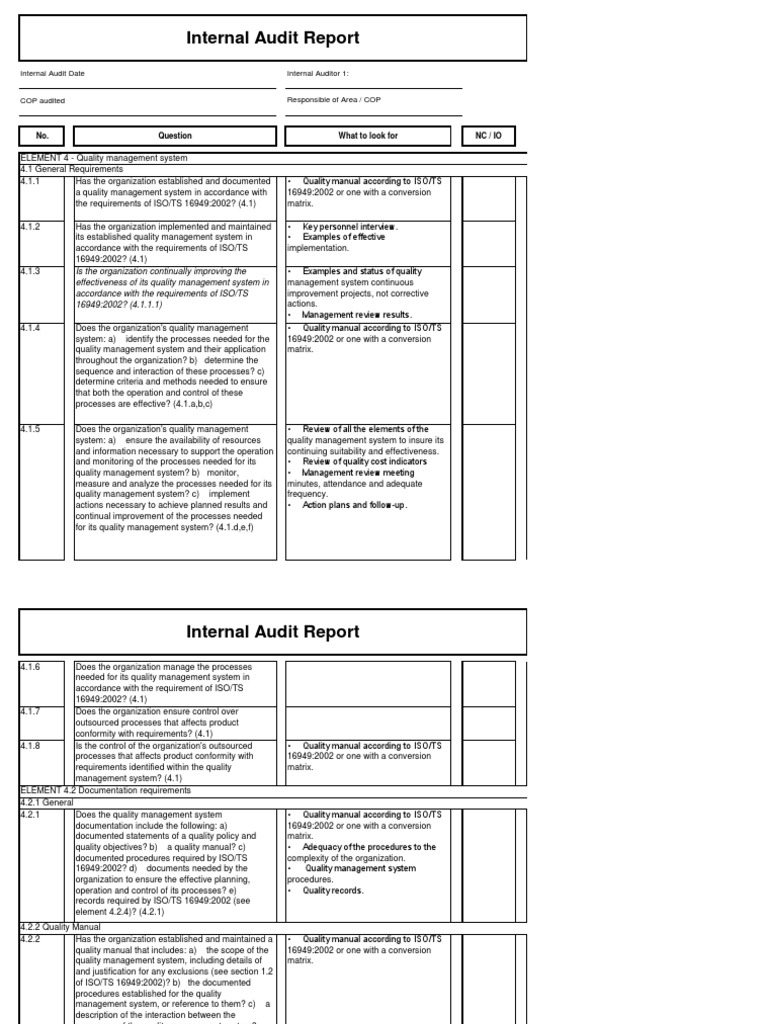 Download Iso 9001 Internal Audit Checklist Xls Free