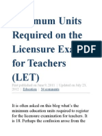 Minimum Units Required on the Licensure Exam for Teachers