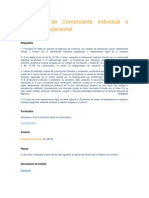 Inscripción de Comerciante Individual o Empresa Unipersonal