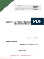 POLÍTICA DEL PROCESO DE FORMACIÓN DE RECURSOS HUMANOS / http://www.edpformacion.co.cc