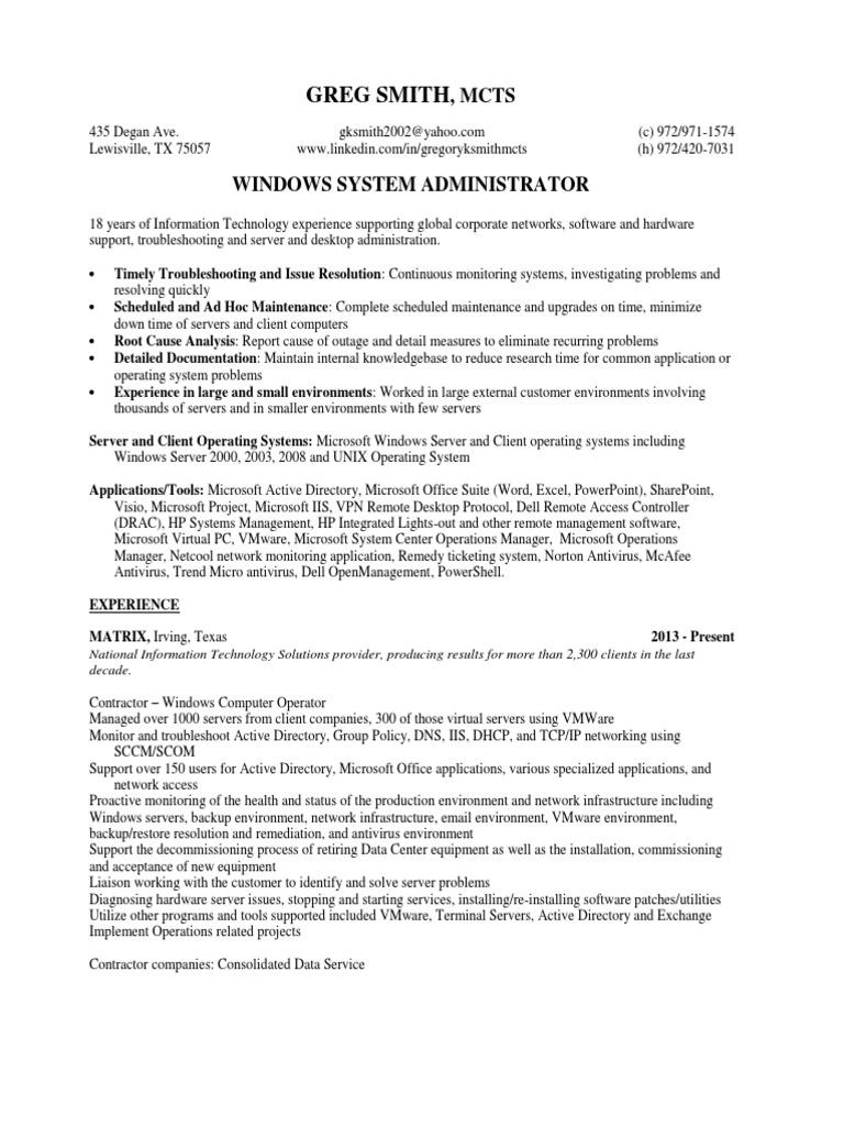 greg smith resume