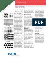 Eaton Pipeline Strainer Basket & Screen Data