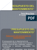134135395 Presupuesto Del Mantenimiento Ppt
