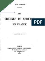 Paul Allard Les Origines Du Servage en France