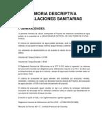 Memoria Descriptiva Inst Sanitarias 2013 San Antonio Putina