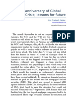 First Anniversary of Global Financial Crisis; lessons for future