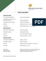 Term Dates 2009-10