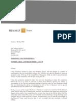 Flavio Briatore's letter to Nelson Piquet Snr