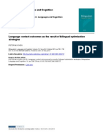Language contact outcomes as the result of bilingual optimization