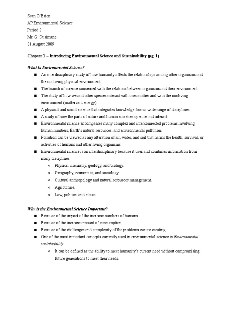 ap environmental science chapter 1 notes experiment hypothesis rh scribd com Earth and Environmental Science Syllabus Earth and Environmental Science Syllabus