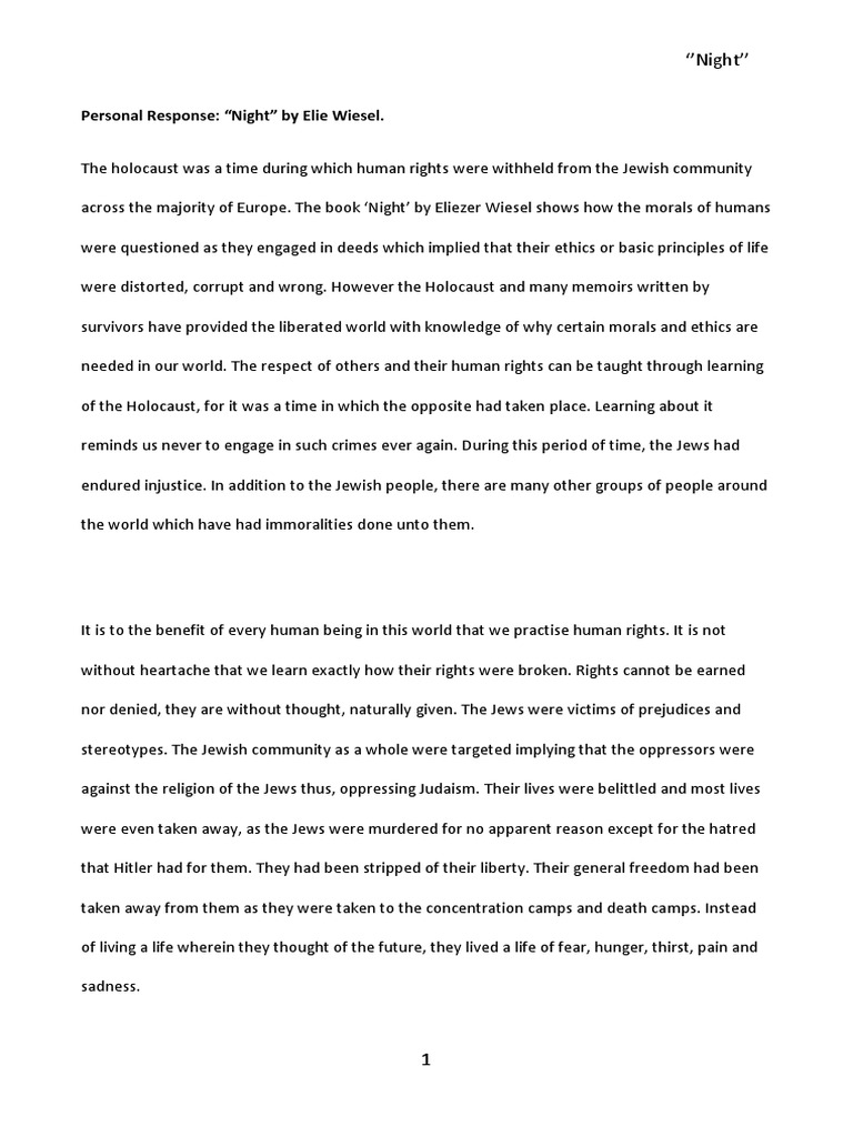 night - dehumanization of the jews essay Dehumanization in night essay - 1168 words - this decree is demoralizing to jews because it labels them and sets them apart from the this idea of how people could become practically unimaginably cruel due to dehumanization corresponds with the jews experience in the holocaust.