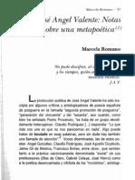 Marcela Romano - José Angel Valente. Notas sobre una meta poética