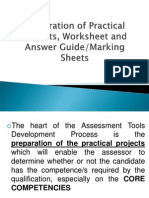 6 Preparation of Practical Projects, Marking Sheets, Worksheets, Answer Guide