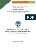 Propuesta de Política Energía Eólica