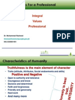 Integral Values for a successful Professional