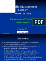 Evaluation of Portfolio Performance