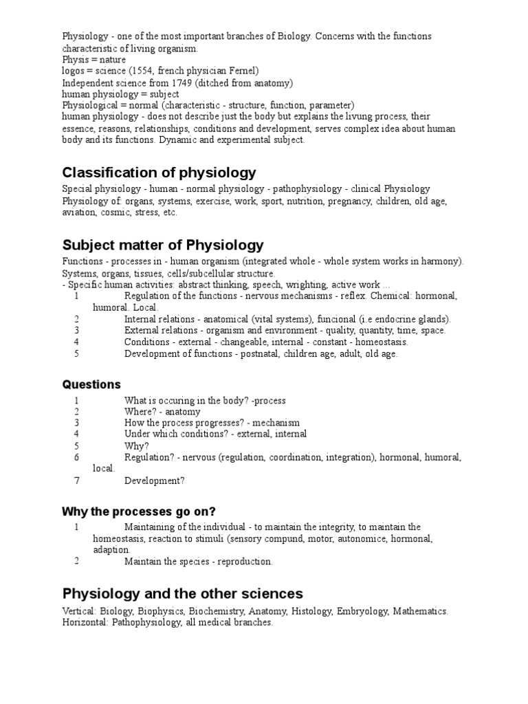 Physiology 1st Lecture - Physiology, Homeostasis | Physiology ...