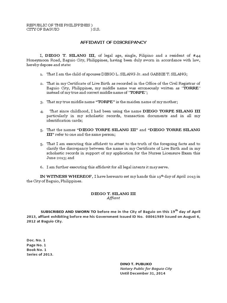 Affidavit of discrepency middle name yadclub Images
