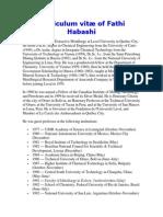 Curriculum vitæ of Fathi Habashi