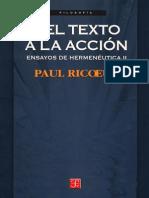 Ricoeur - Del texto a la acción