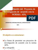 Forma de Presentar Proyecto Norma Apa