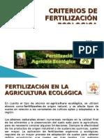 CRITERIOS DE FERTILIZACIÓN ECOLOGICA