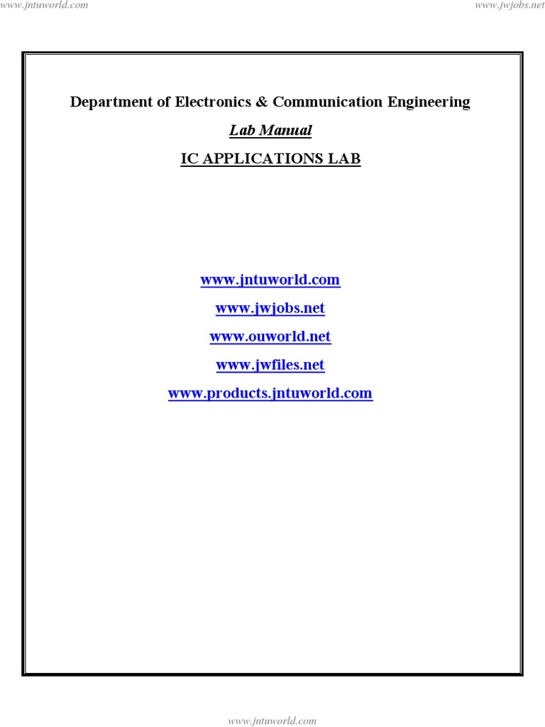 Ic Apps Lab Manual Operational Amplifier Electronic Filter Circuit Questions And Answers Bandreject Allpass Filters