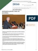 08-01-2014 'Sociedad de Reynosa Informada y Participativa Gracias a Labor de Periodistas'