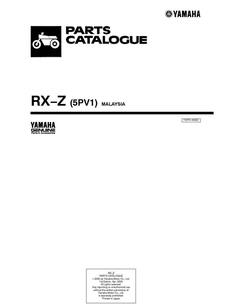 yamaha rx z catalyzer first model owner manual rh scribd com yamaha rxz 135 service manual yamaha rxz 135 service manual