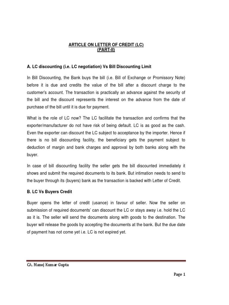 articleonletterofcredit part ii letter of credit credit finance