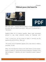 Abbas Insists Mideast Peace Deal Must Be _permanent_ (27th Sept 2013) (1)