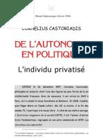 Cornelius Castoriadis = de l'Autonomie en Politique
