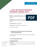 Mignovillard - Compte rendu du Conseil municipal du mardi 7 janvier 2014