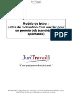 Lettre Motivation Dun Ouvrier Pour Premier Job Candidature Spontanee