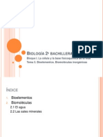 Biología 2º bachillerato Tema 3. Bioelementos. Biomoléculas inorgánicas