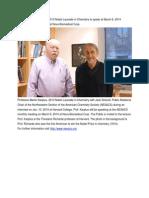 Nobel Laureate, Professor Martin Karplus, will speak at NESACS monthly meeting on March 6, 2014