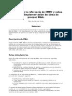 Resumen de la referencia de CMMI y notas sobre la Implementación del Área de proceso M&A.